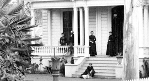 The Houghton-Donner House front porch, in better times