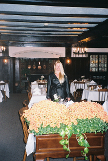 My friend Danielle, inside the Wellesley Inn, 2005
