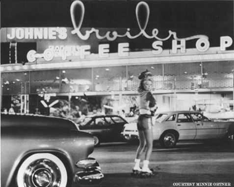 Johnie's waitress on rollerskates