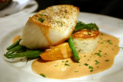 Seabass with lobster sauce from Chef Christian Potvin, formerly of La Vieille Maison
